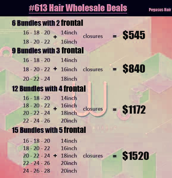 613 Lace Frontal With Bundles Human Hair Wholesale Deals - pegasuswholesale