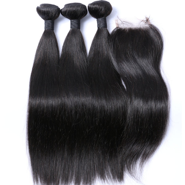 100% Human Hair Bundles With HD Swiss Lace Closure Brazilian Hair Weave 3 Bundles Straight - pegasuswholesale