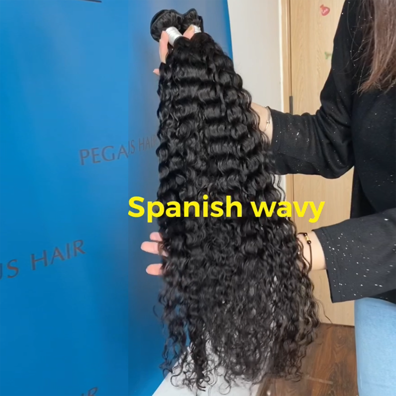 Spanish Wavy 3/4 Bundles Remy Brazilian Hair Extension - pegasuswholesale