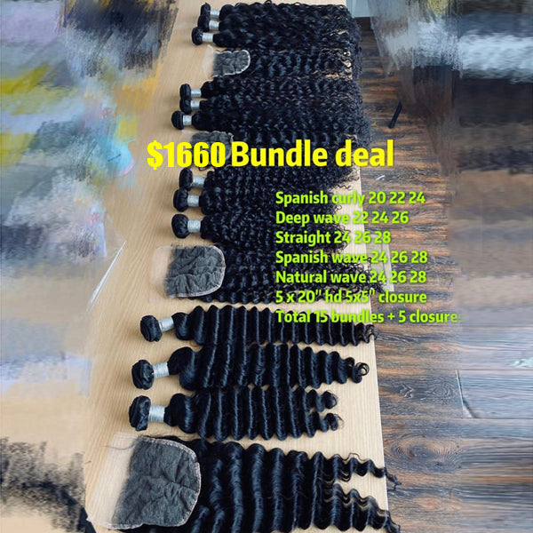 "15 Hair Bundles + 5 HD Lace Closure 5X5"" - pegasuswholesale"