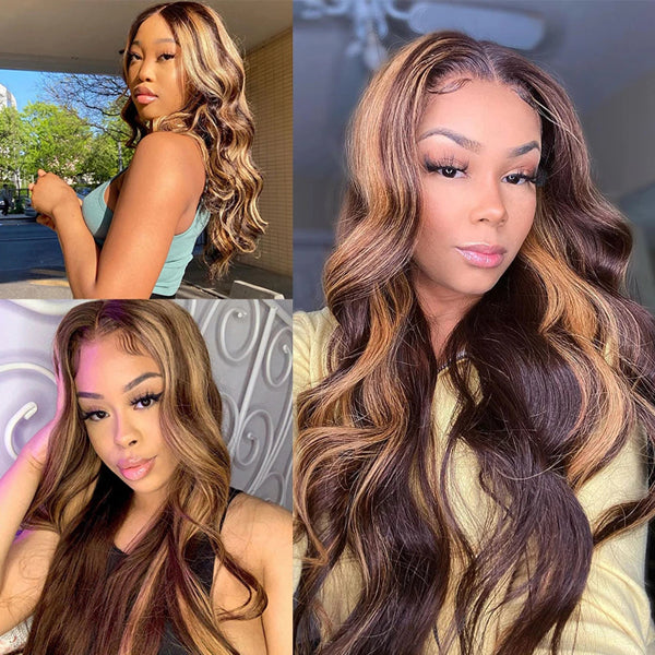 4-27 Ombre Brown Body Wave 3/4 Bundles With Closure Frontal Human Hair 【PWHBW02】 - pegasuswholesale