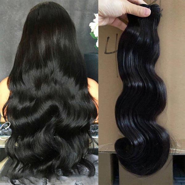 Double Drawn Virgin Hair Bundles Natural Color Body Wave Brazilian