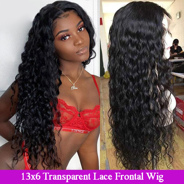 13x6 Transparent Lace Frontal Wigs Water Wave Hair 5x5 6x6 Closure Wigs - pegasuswholesale