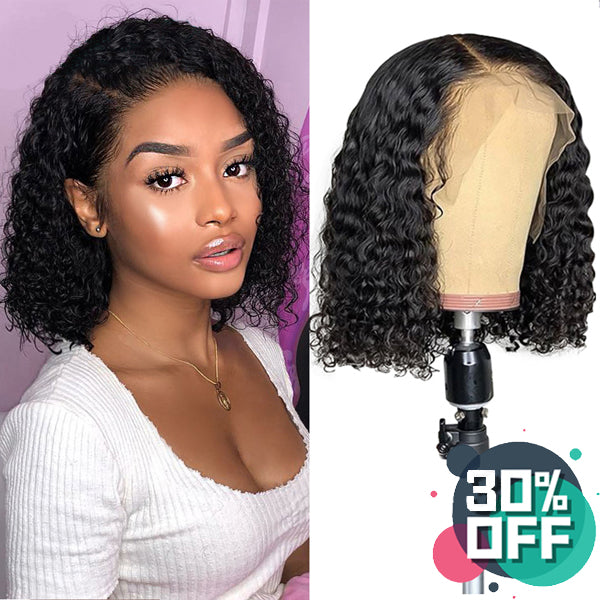 Curly Bob Wig Short Human Hair Lace Front Wigs - pegasuswholesale