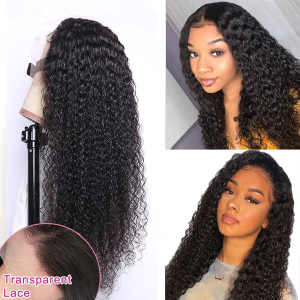 Transparent Lace Frontal Closure Wig 4x4 5x5 13x4 Curly Human Hair 150% 180% - pegasuswholesale
