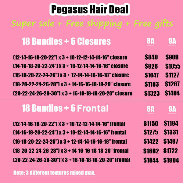 24pcs Bundles With Closure Frontal Deal Wholesale Hair - pegasuswholesale