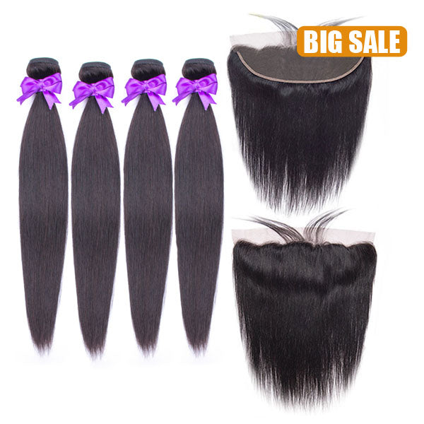 Big Sale 13x4 Lace Frontal With 3/4 Bundles Deal All textures available - pegasuswholesale