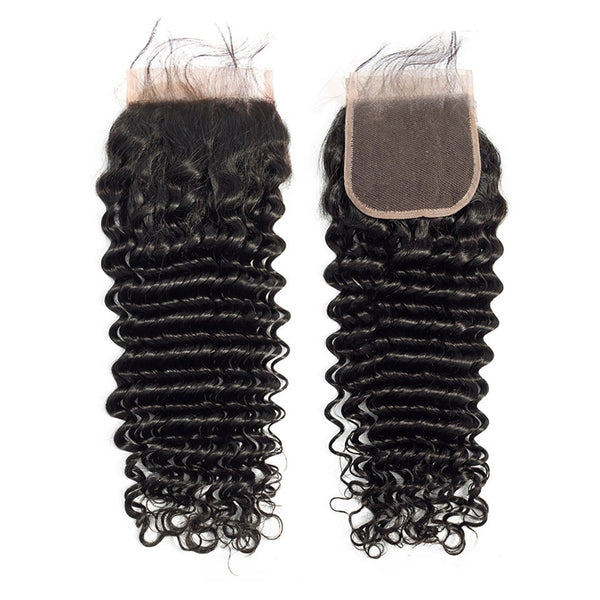 Deep Wave 3 Bundles With 4x4 Lace Closure Brazilian Human Hair - pegasuswholesale