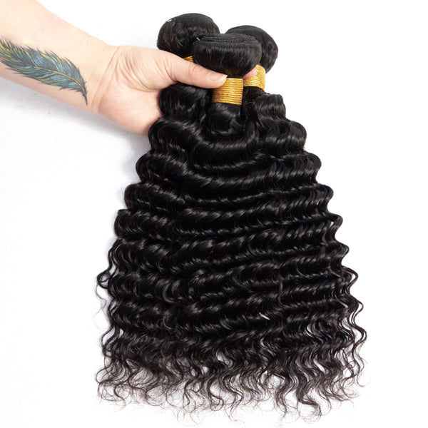 10A deep wave bundles sale cambodian virgin hair weave - pegasuswholesale