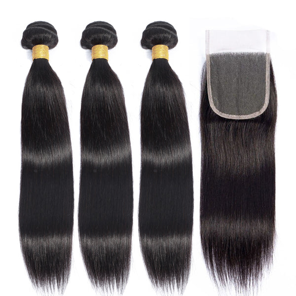 100% Human Hair Bundles With HD Swiss Lace Closure Brazilian Hair Weave 3 Bundles Straight 【PWH2230】 - pegasuswholesale