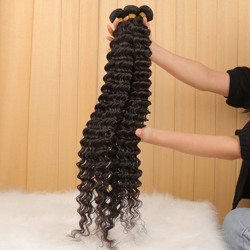 Deep Wave Bundles With 13x4 Frontal Transparent Lace - pegasuswholesale