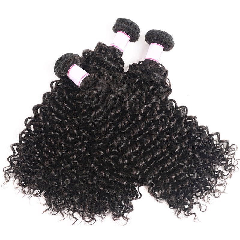 3 Bundles With Closure 4*4 Closure Curly Malaysian Human Hair - pegasuswholesale