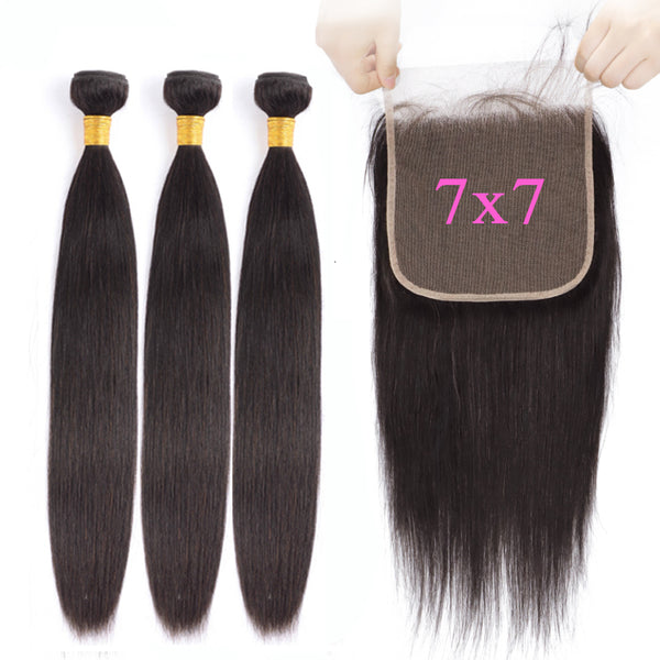 7x7 Transparent Lace Closure With 3 Bundles 8A Straight Hair Weave - pegasuswholesale
