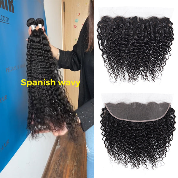 "Spanish Wavy Bundles With 13x4 13x6"" Frontal Brazilian Hair - pegasuswholesale"