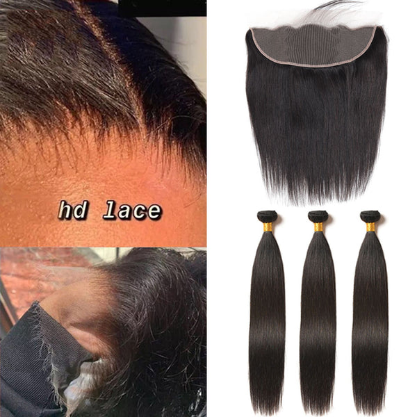 Hd Swiss Lace Frontal 13x4 Ear To Ear With Bundles Straight Human Hair 【PWH2238】 - pegasuswholesale
