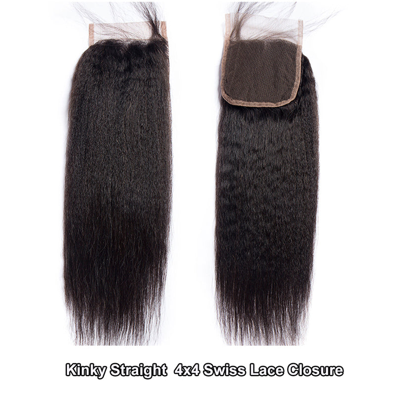 Kinky Straight Hair 3 Bundles With 4*4 Closure Peruvian - pegasuswholesale