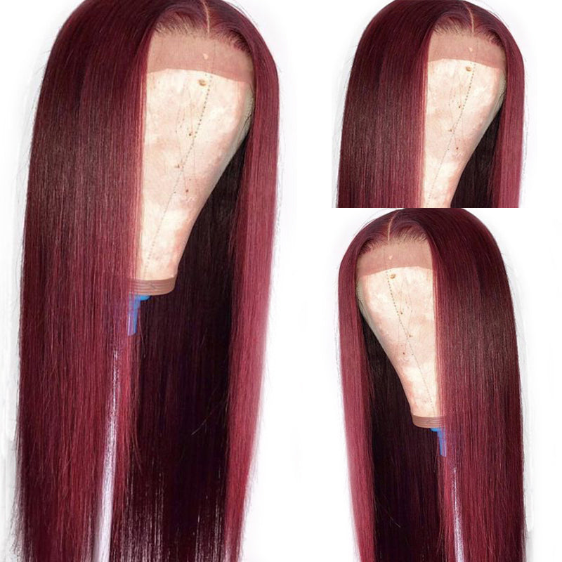 99J Colored Straight Lace Front Wigs Brazilian Human Hair Dark Red Color - pegasuswholesale