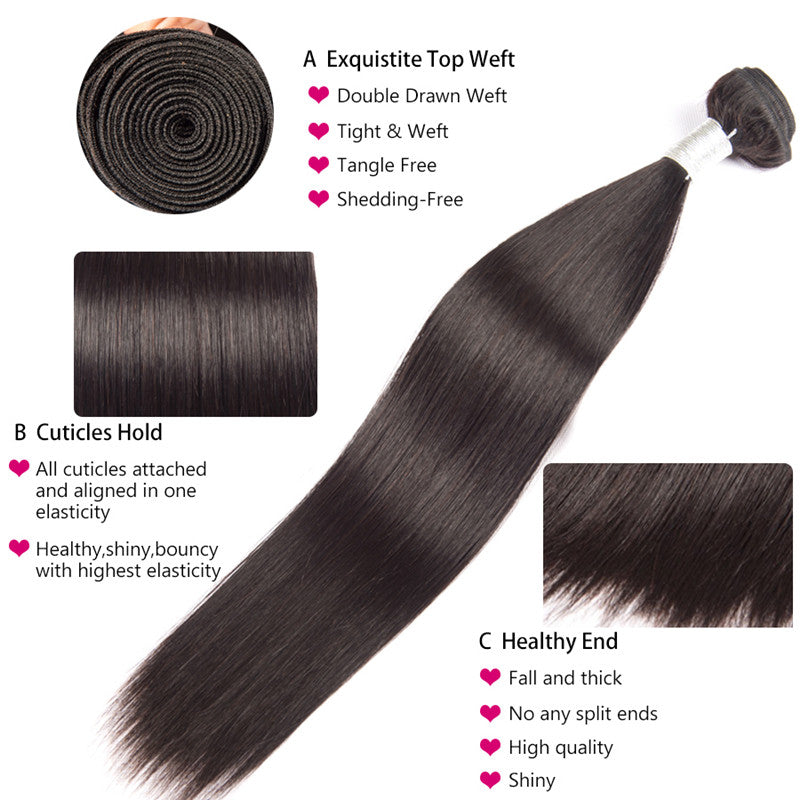 3 Bundles Brazilian Straight Human Hair - pegasuswholesale