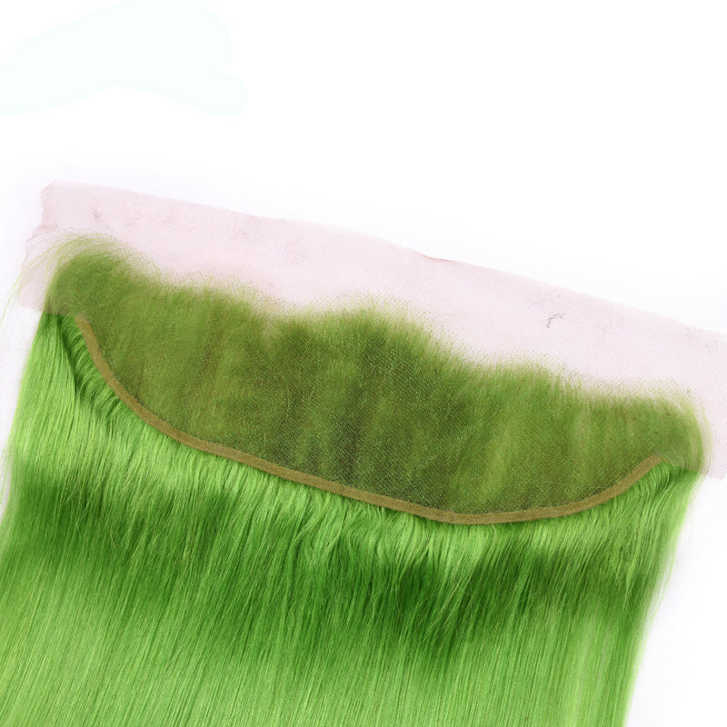 Green Hair 3 Bundles With Lace Frontal Straight Brazilian - pegasuswholesale
