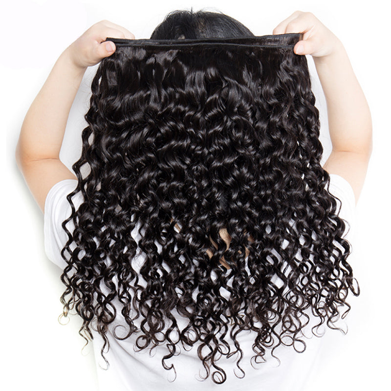 Water Wave Human Hair 3 Bundles With 13x4 Lace Frontal - pegasuswholesale