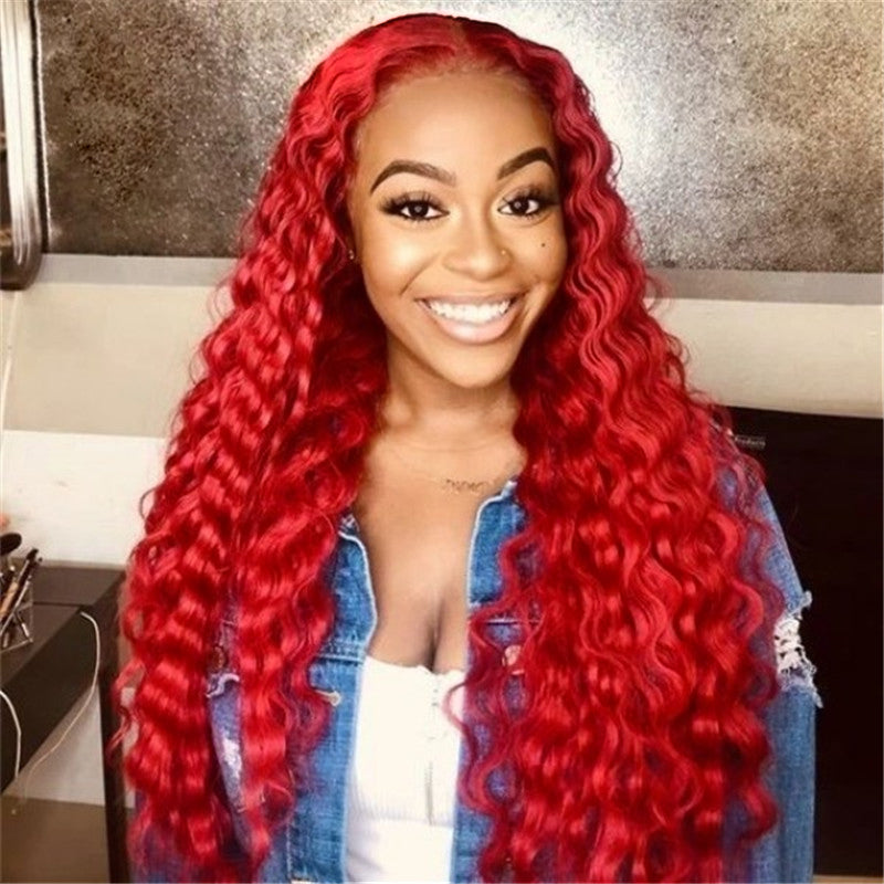 Red hair bundles with frontal deal hot selling - pegasuswholesale