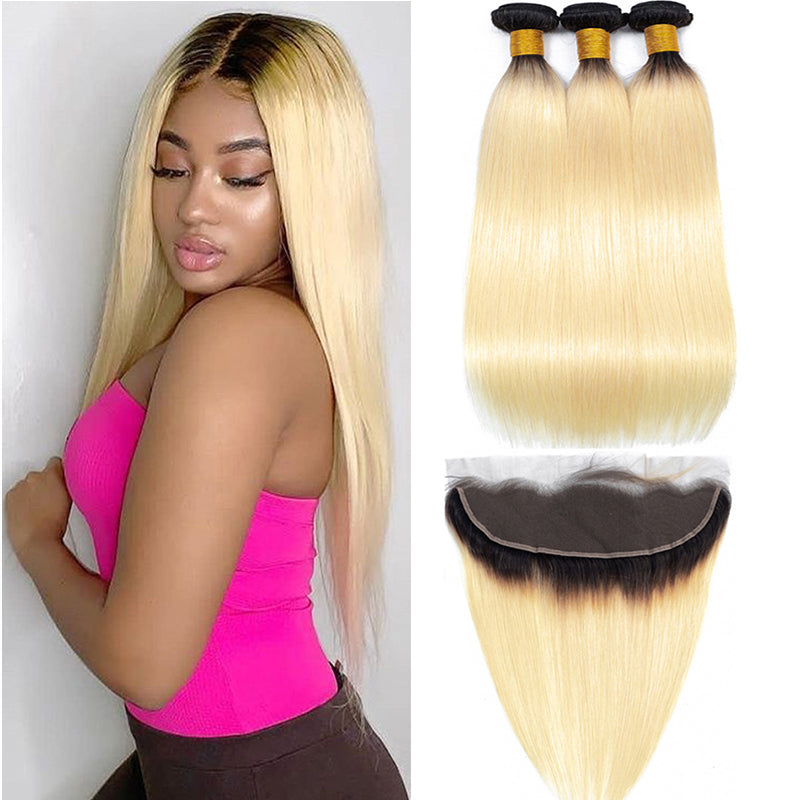 1B 613 Bundles With Frontal Brazilian Straight Human Hair - pegasuswholesale