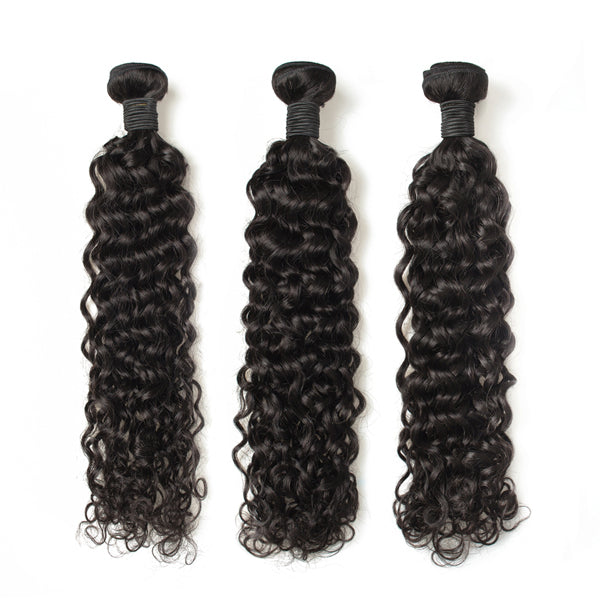 HD Swiss Lace 13x4 Frontal Water Wave With 3/4 Bundles Brazilian Human Hair - pegasuswholesale