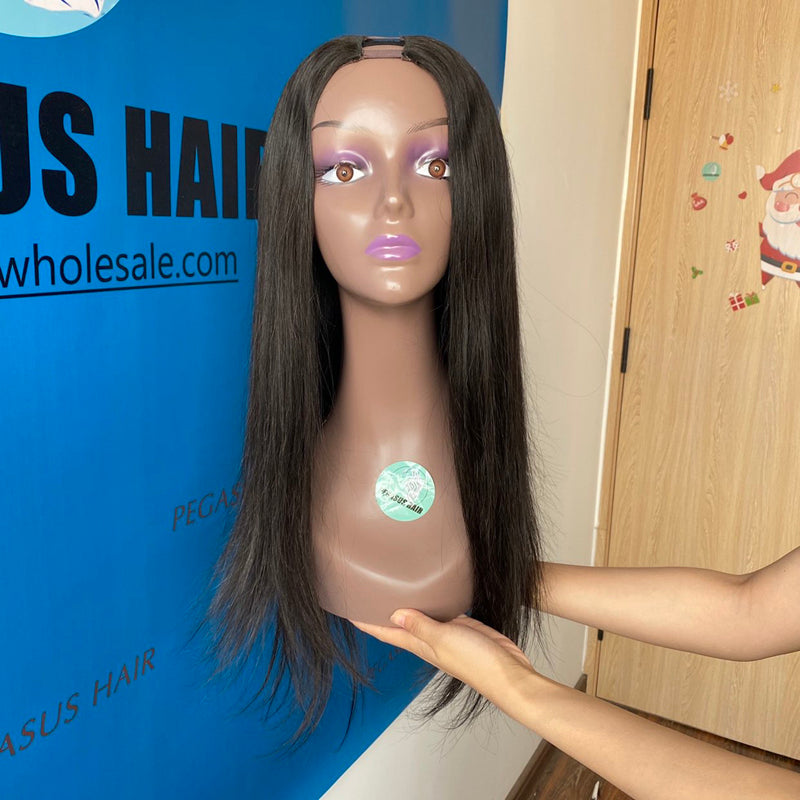New U Part Wig Human Hair Straight 130% 150% 180% Density - pegasuswholesale
