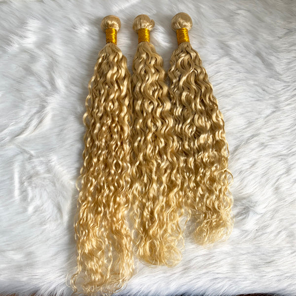 613 Blonde Spanish Wavy 3/4 Bundles Brazilian Hair (Pure color/1B root) - pegasuswholesale