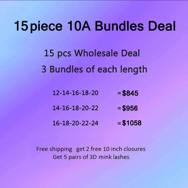 10A Virgin Hair Bundles Deal 15 Piece get 2 Free Closures - pegasuswholesale