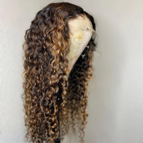 13x4 13x6 HD Lace Front Wigs Curly 150% Density Highlight Ombre Brazilian 【PWC22】 - pegasuswholesale