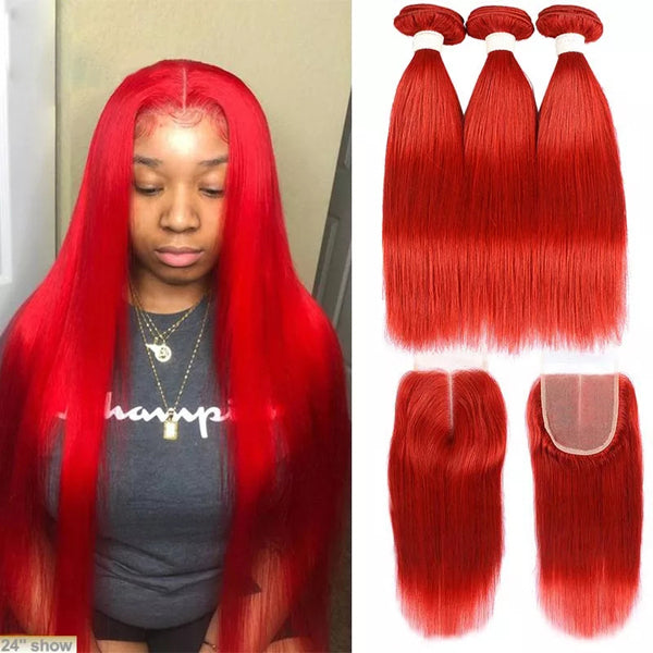 "Red hair 4x4 5x5 13x4"" frontal closure with bundles straight transparent lace hot selling - pegasuswholesale"