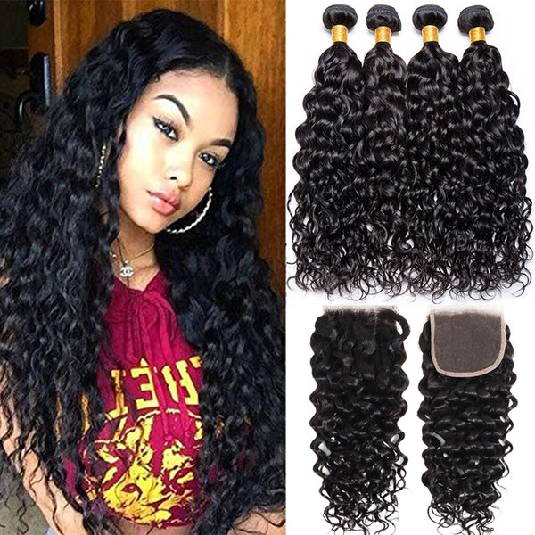 Brazilian Water Wave 3 Bundles With 4x4 Closure Human Hair - pegasuswholesale