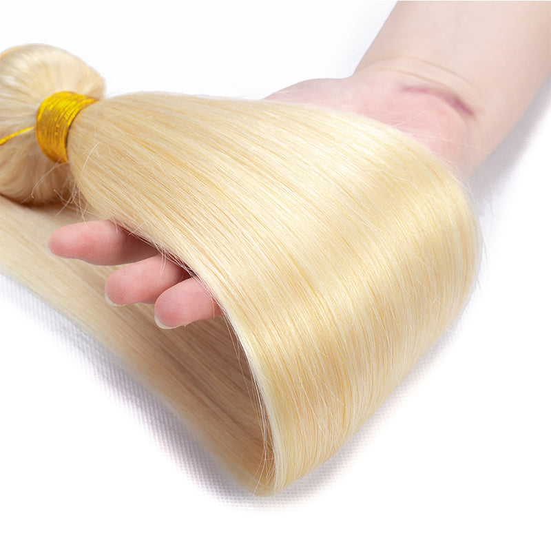 613 Blonde Straight 3 Bundles With 13x4 Frontal Brazilian Hair Weave - pegasuswholesale
