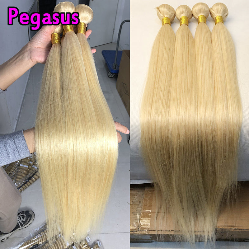 613 Blonde Bundles With 4x4 Closure Straight Peruvian Hair - pegasuswholesale
