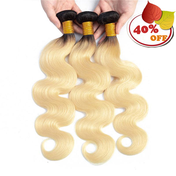 1b/613 Blonde Brazilian Virgin Human Hair 3 Bundles Body Wave - pegasuswholesale