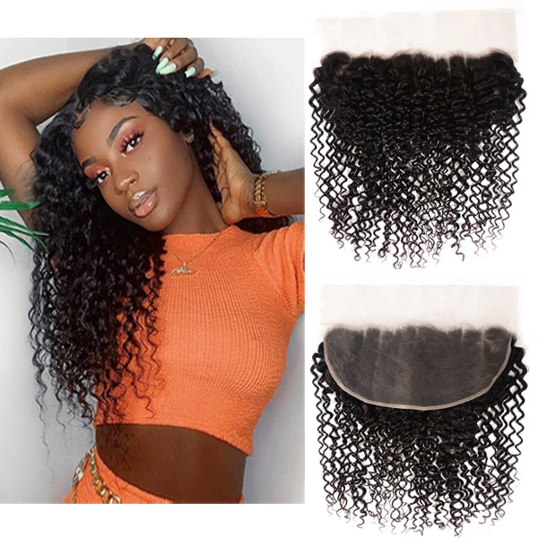 13X6 Transparent Lace Frontal With 2/3/4 Bundles Curly Human Hair - pegasuswholesale