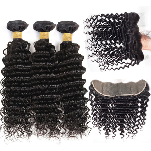 Loose Deep Wave HD Swiss Lace Frontal 13x4 With Bundles Brazilian - pegasuswholesale