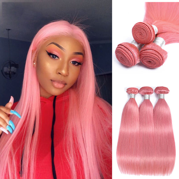 Pink 3/4 Bundles Straight Brazilian Hair Weave Wholesale - pegasuswholesale