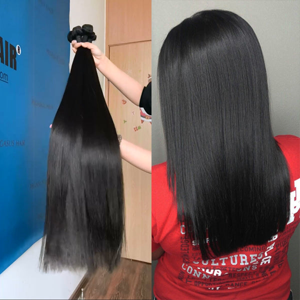 Double Drawn Human Hair Bundles Natural Color Straight Short Brazilian Hair Weave Extension Long Remy for Black Women