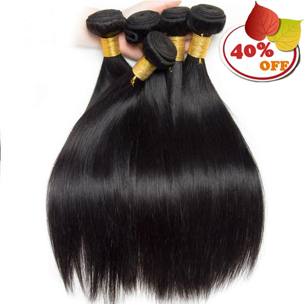 Straight Hair Bundles Human Hair Extensions Natural Color 4 Bundle Non Remy Hair Weave Bundle - pegasuswholesale