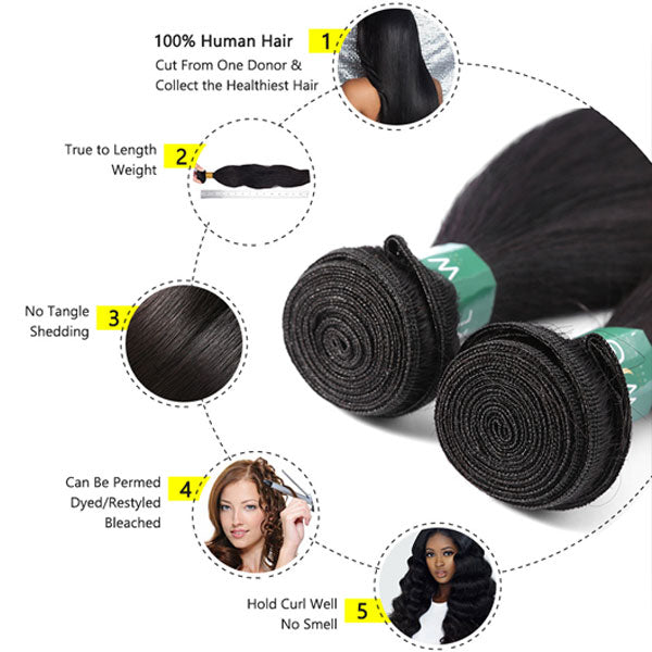 2 Bundles Straight Hair Bundles - pegasuswholesale