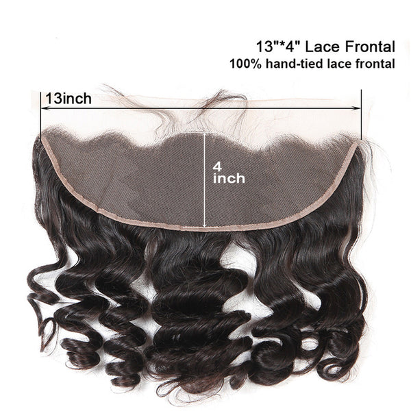 Brazilian Hair Weave Bundles With Frontal Closure 13*4 Inch Human Hair 3 Bundle Deals Loose Wave Remy hair