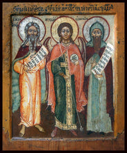 Load image into Gallery viewer, Sts. Alexander Oshevensky, Prophet Elijah and Archangel Michael Orthodox icon