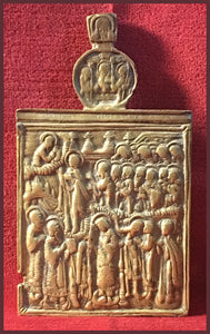 antique russian orthodox metal icon Pokrov
