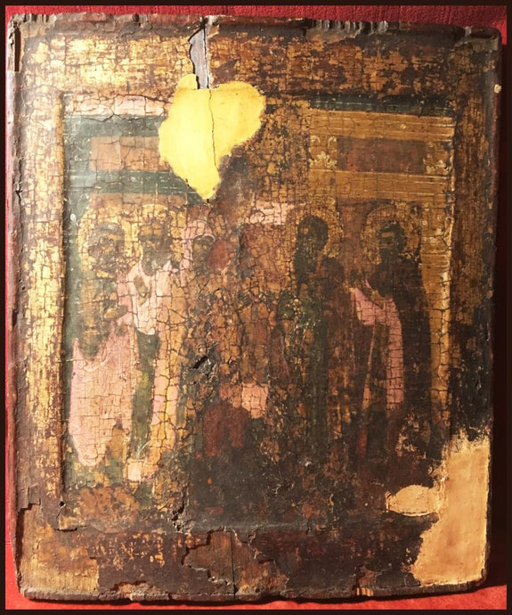 antique russian orthodox icon st sergius theotokos appearing