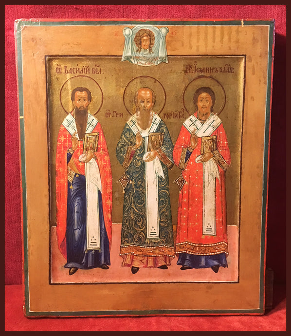 Holy Hierarchs antique Russian icon