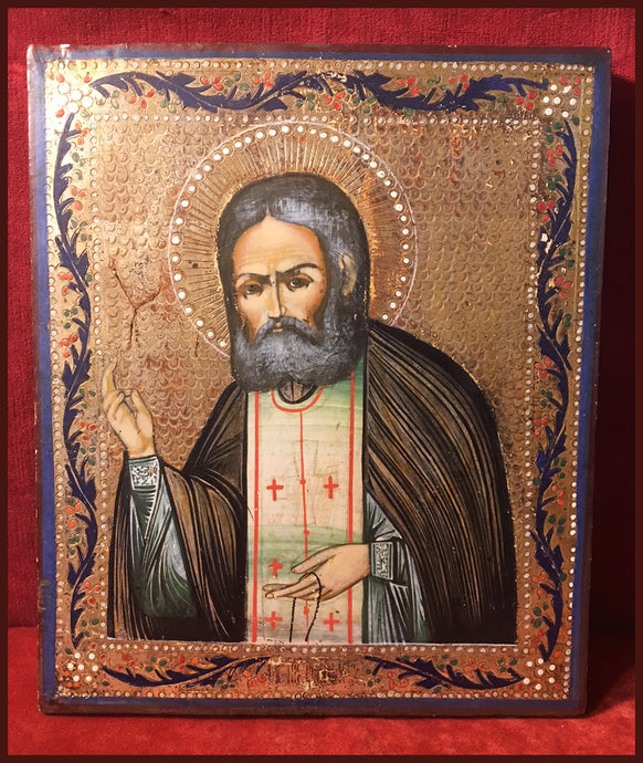St. Seraphim of Sarov antique russian icon