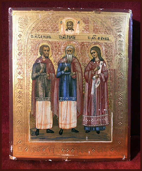 Sts. Gourius, Samon and Abib antique russian icon