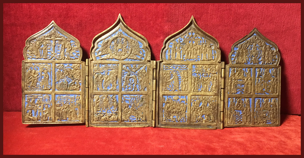 Four Panel Traveling Icon Russian metal icon antique